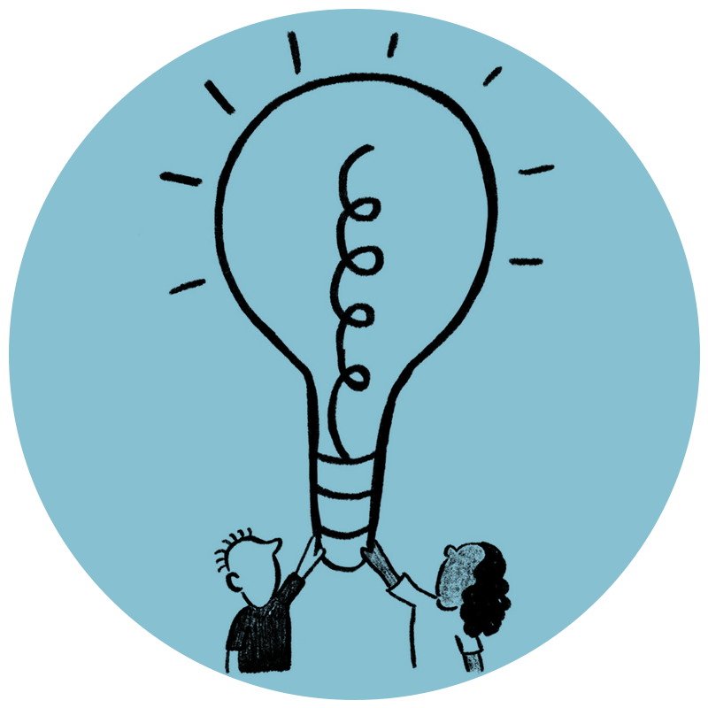 Sketch on blue background of a woman and man holding up a glowing lightbulb, representing executive coaching at Spiral Up, founded by Wendy Wallbridge